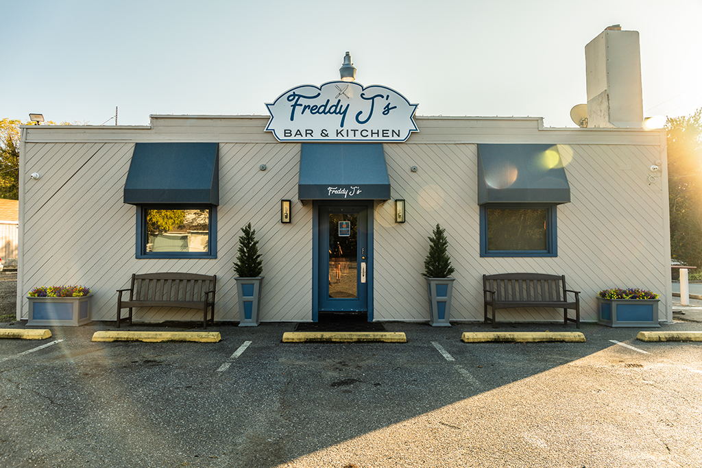 The Front of the Building of Freddy J's Bar & Kitchen in Mays Landing, NJ