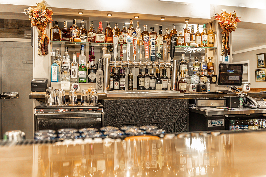 The Whiskey Wall and Beer Taps in Freddy J's Bar & Kitchen in Mays Landing, NJ
