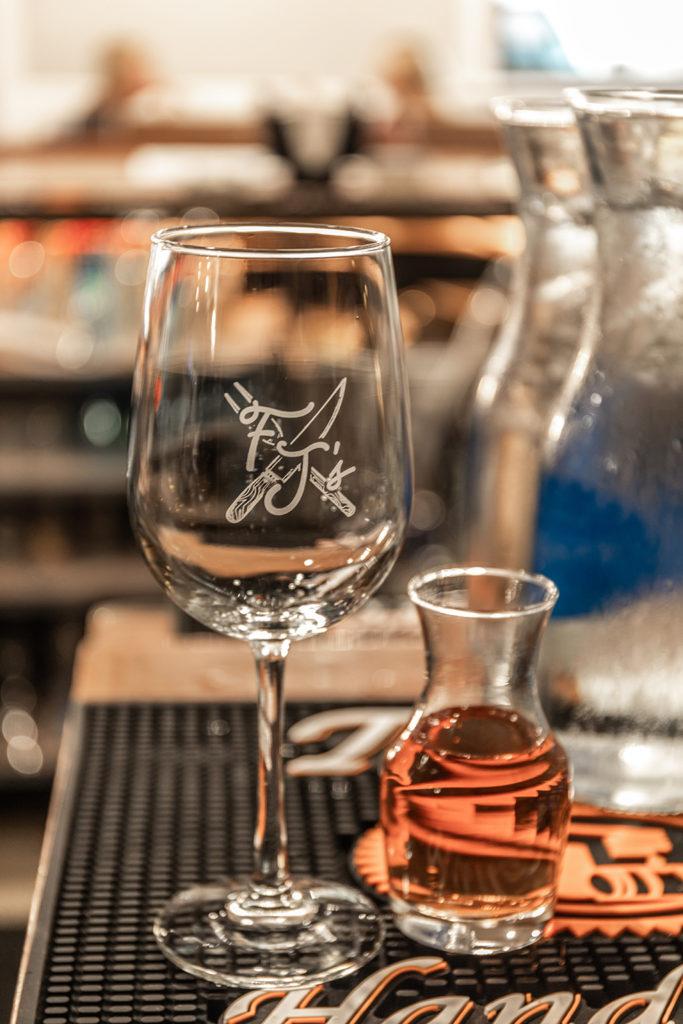 Freddy J's Bar & Kitchen Wine Glass and Wine